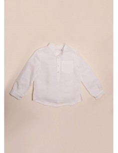 Camisa de lino blanco roto...